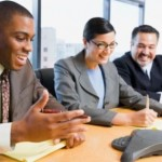 How is conference calling used to recruit staff? (Image credit: Thinkstock/Steve Hix/Somos Images/Fuse)